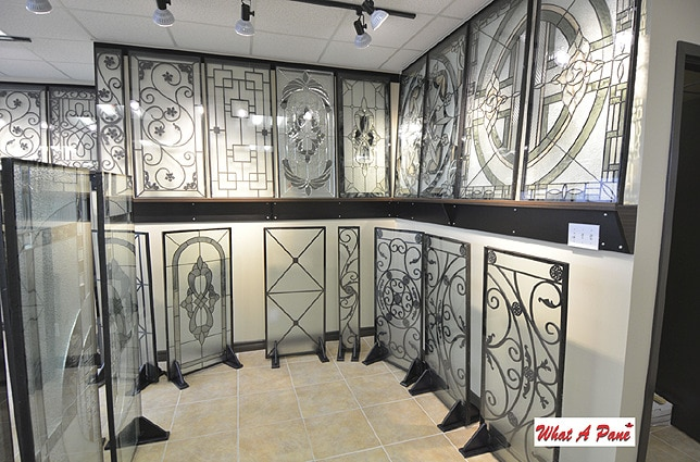 Wrought Iron and Stained Glass Door Inserts Showroom
