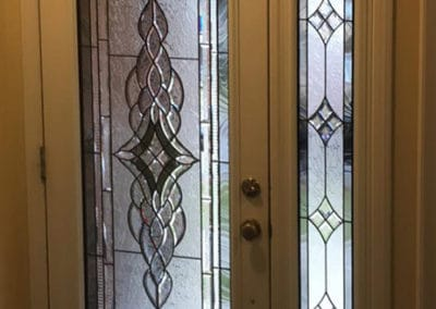Stained glass door insert by What A Pane