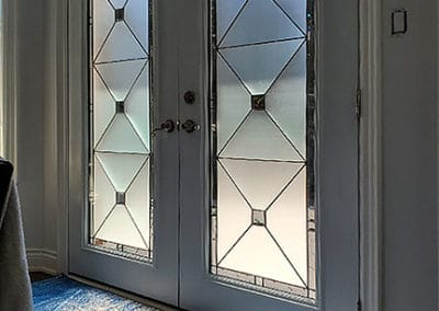 Cubix, stained glass door insert by What A Pane
