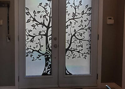 Laser cut steel. Door Inserts by What A Pane