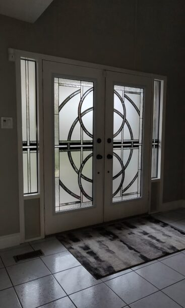 Nebula Stained Glass Door Insert by What A Pane.