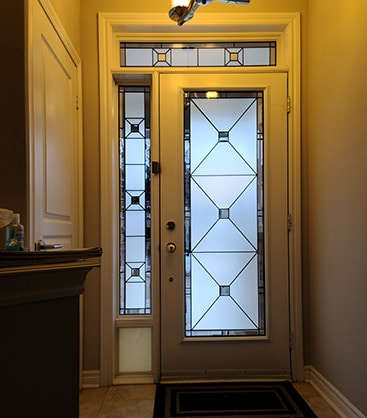 Cubix Stained Glass Door Insert by What A Pane.